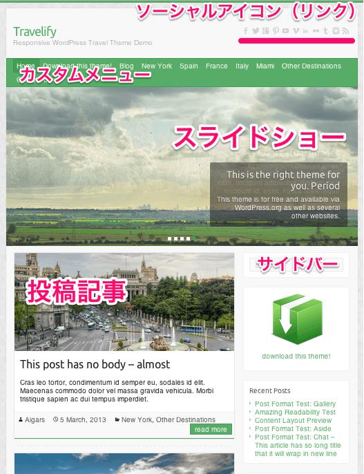 写真ブログ用の無料WordPressテーマ「Travelify」のトップ上部デザイン
