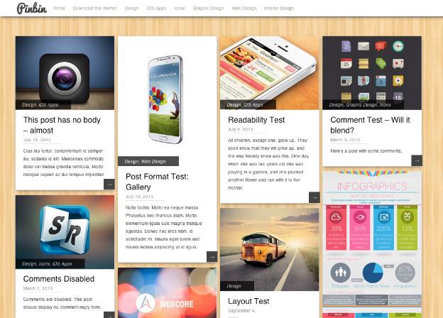 Pinterest風、シンプルな写真ブログにおすすめテーマ「Pinbin」