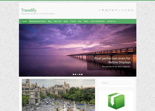 写真ブログ用の無料WordPressテーマ「Travelify」のトップページイメージ