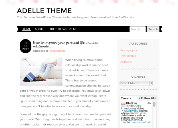 女性ブロガーの為のかわいらしい上品なデザイン「ADELLE」