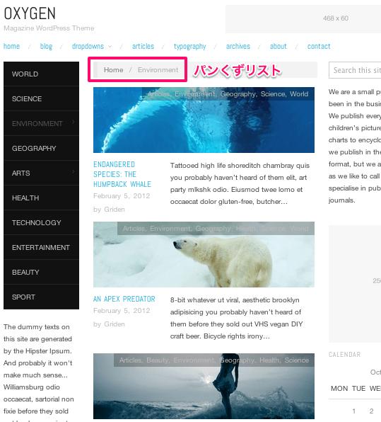 ブログ-マガジン用の無料WordPressテーマ「OXYGEN」のカテゴリーページデザイン