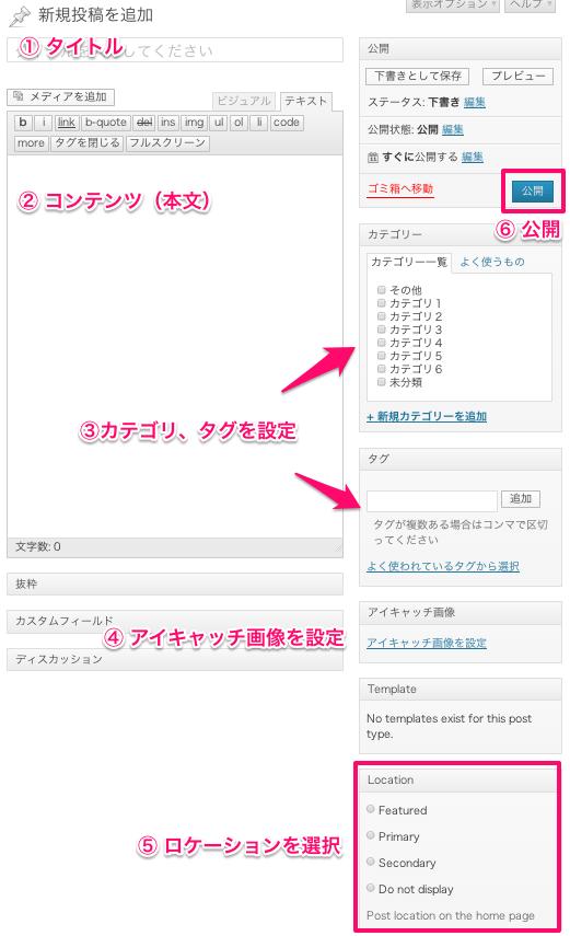 ブログ-マガジン用の無料WordPressテーマ「OXYGEN」の投稿方法1