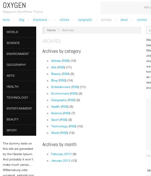ブログ-マガジン用の無料WordPressテーマ「OXYGEN」の固定ページのデザイン