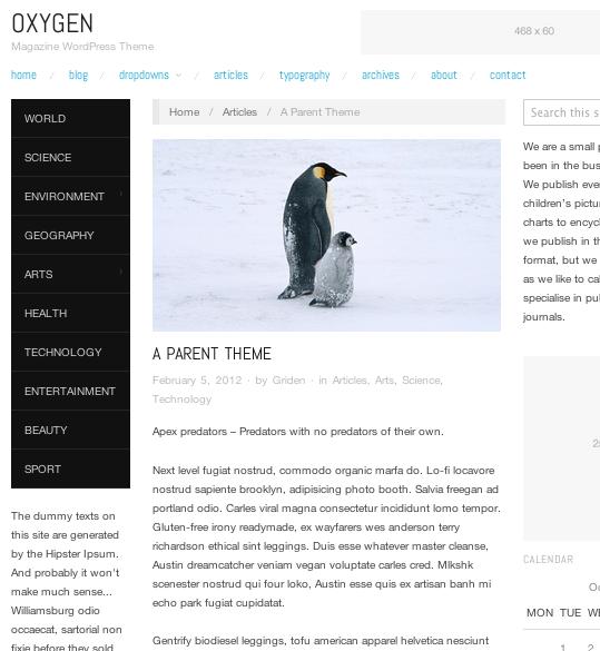 ブログ-マガジン用の無料WordPressテーマ「OXYGEN」の投稿ページデザイン