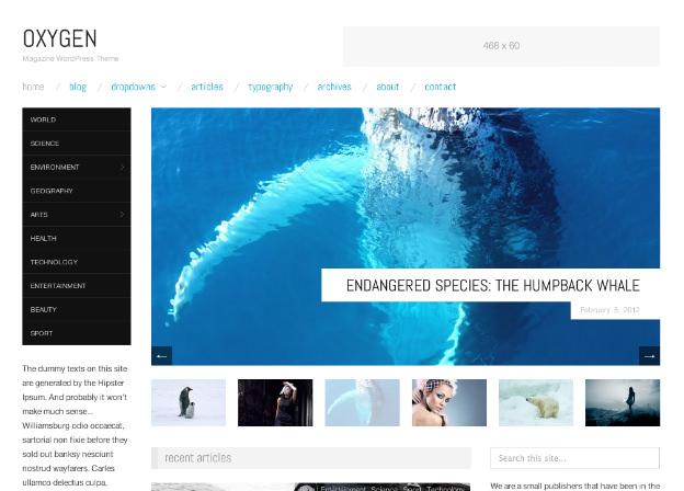 Wordpress無料テーマOXYGEN-トップページのキャプチャ画像