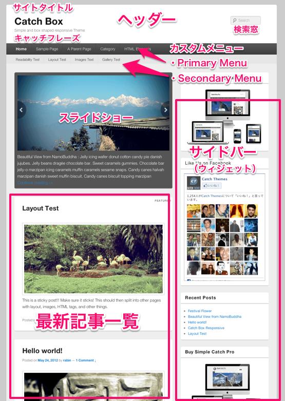 ブログやwebマガジン用の無料WordPressテーマ「catchbox」のトップページ上部のデザイン