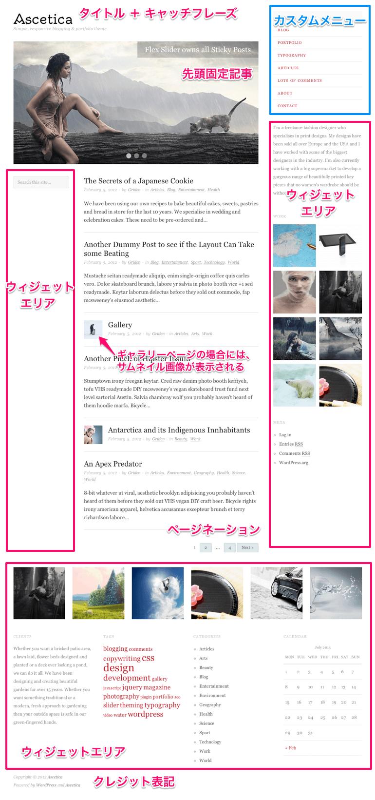 ブログ用の無料WordPressテーマ「ascetica」のトップページのデザイン