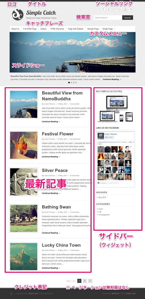 ブログ用の無料WordPressテーマ「simplecatch」のトップページのデザイン