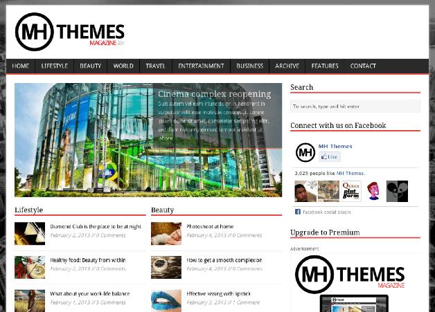 ポータルやブログ用の無料WordPressテーマ「MHMagazine」のトップページイメージ