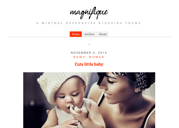 ブログ用の無料WordPressテーマ「Magnifique」のトップページイメージ