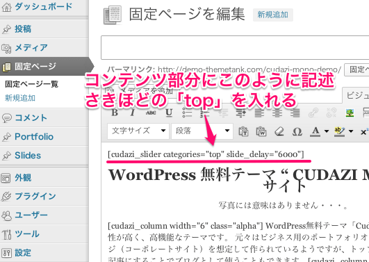 ビジネスかつポートフォリオ用の無料WordPressテーマ「Cudazi-Mono」のスライドショーのカスタマイズ方法3
