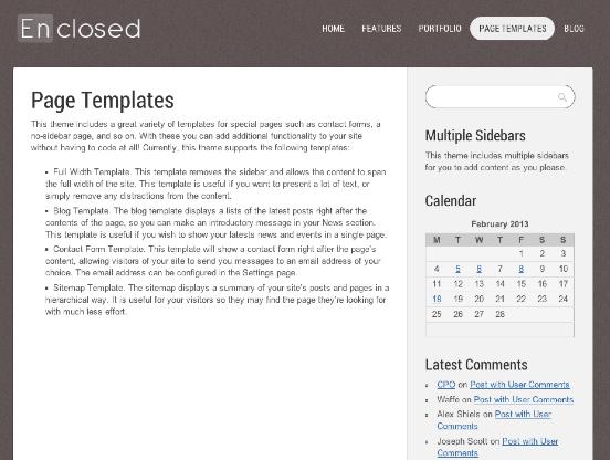 ビジネスやポートフォリオサイト用の無料WordPressテーマ「enclosed」の固定ページのデザイン1
