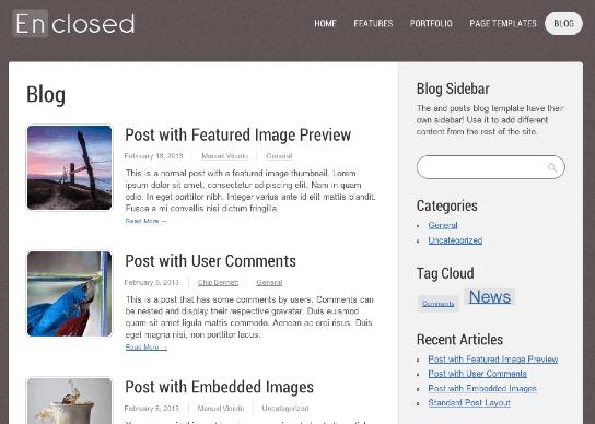 ビジネスやポートフォリオサイト用の無料WordPressテーマ「enclosed」の投稿ページデザイン