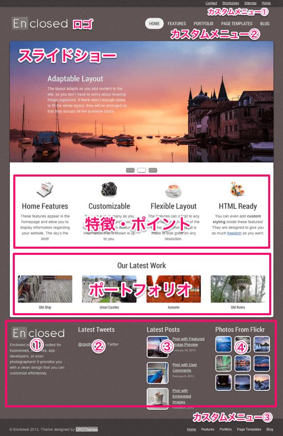 ビジネスやポートフォリオサイト用の無料WordPressテーマ「enclosed」のトップページのデザイン