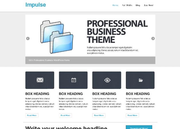 ビジネス用の無料WordPressテーマ「impulse」のトップページイメージ