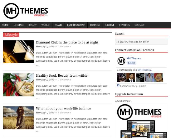 ポータルやブログ用の無料WordPressテーマ「MHMagazine」のカテゴリーページデザイン