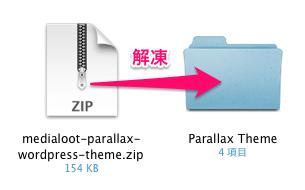 ポートフォリオや写真用の無料WordPressテーマ「parallax」のファイルのダウンロード方法2