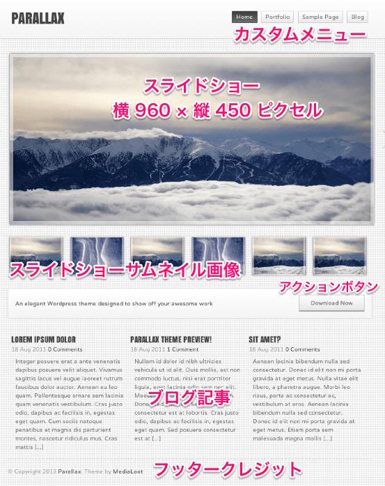 ポートフォリオや写真用の無料WordPressテーマ「parallax」のトップページのデザイン