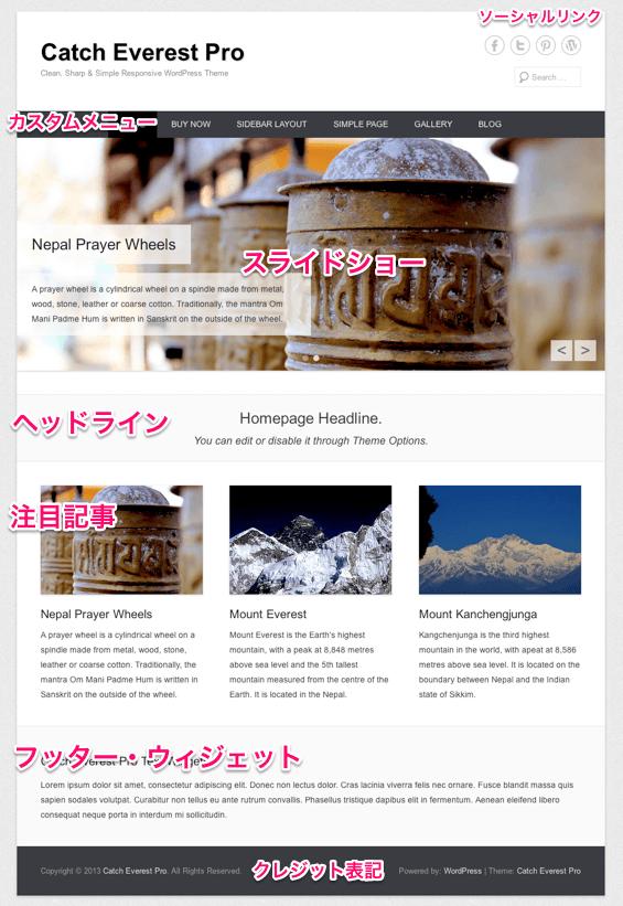 ブログやビジネス用の無料WordPressテーマ「catcheverest」のトップページのデザイン