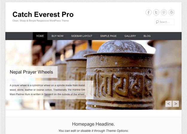 ブログやビジネス用の無料WordPressテーマ「catcheverest」のトップページイメージ
