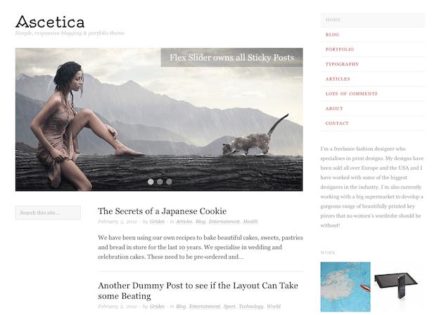 3カラム文章中心のシンプルブログに最適な無料テーマ「Ascetica」