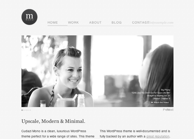 ビジネスかつポートフォリオ用の無料WordPressテーマ「Cudazi-Mono」のトップページ上部イメージ