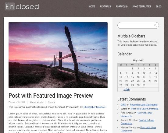 ビジネスやポートフォリオサイト用の無料WordPressテーマ「enclosed」の投稿ページデザイン2