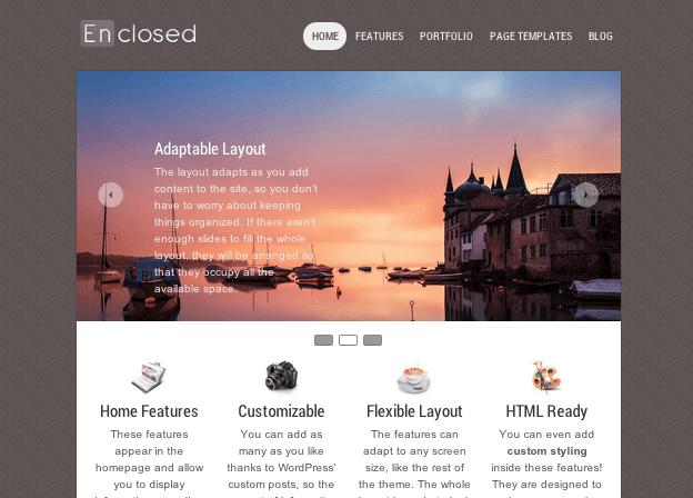 ビジネスやポートフォリオサイト用の無料WordPressテーマ「enclosed」のトップページイメージ
