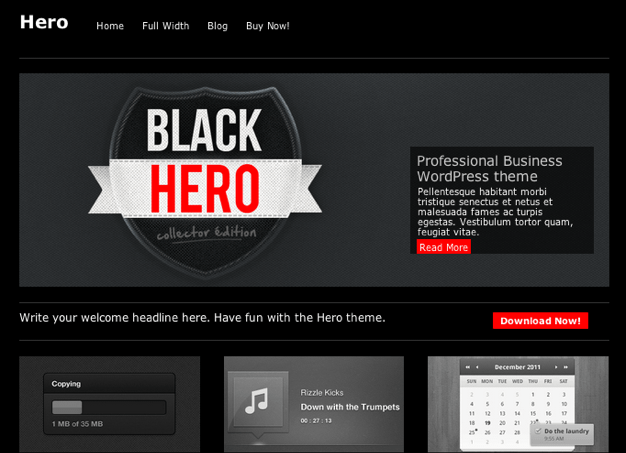 ビジネス用の無料WordPressテーマ「hero」のトップページイメージ