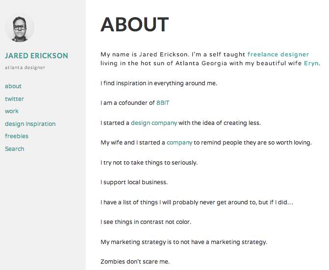 ブログ-ポートフォリオ用の無料WordPressテーマ「Required」の固定ページのデザイン