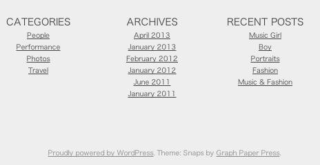 ポートフォリオ用の無料WordPressテーマ「snaps」のフッターデザイン