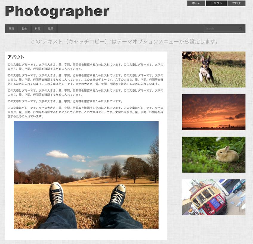 写真ギャラリー-ポートフォリオ用の無料WordPressテーマ「Photographer」の固定ページの作成方法2