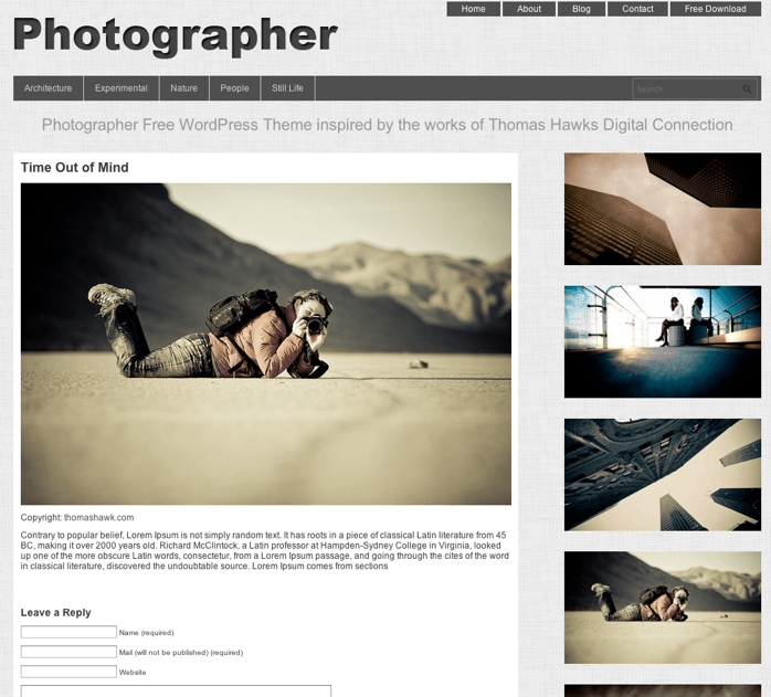 写真ギャラリー-ポートフォリオ用の無料WordPressテーマ「Photographer」の投稿ページデザイン