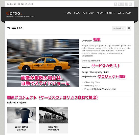 ビジネス-ポートフォリオ-会社ホームページ用の無料WordPressテーマ「corp」のポートフォリオページのデザイン2