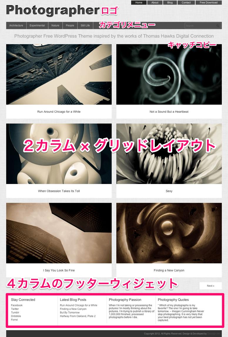 写真ギャラリー-ポートフォリオ用の無料WordPressテーマ「Photographer」のトップページのデザイン
