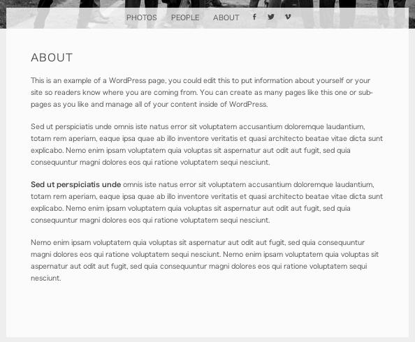ポートフォリオ用の無料WordPressテーマ「snaps」の固定ページのデザイン