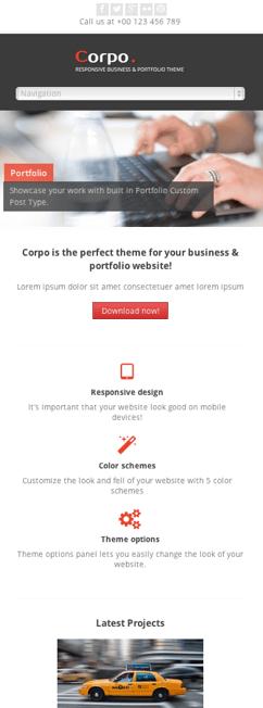 ビジネス-ポートフォリオ-会社ホームページ用の無料WordPressテーマ「corp」のレスポンシブデザインのイメージ1