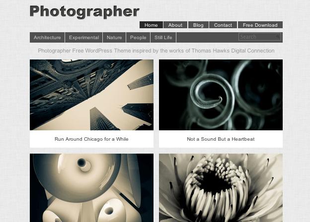 2列グリッドに大きな写真が印象的。WP無料テーマ「Photographer」