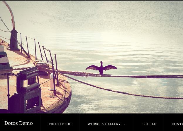 写真ギャラリー用の無料WordPressテーマ「dotos」のトップページイメージ