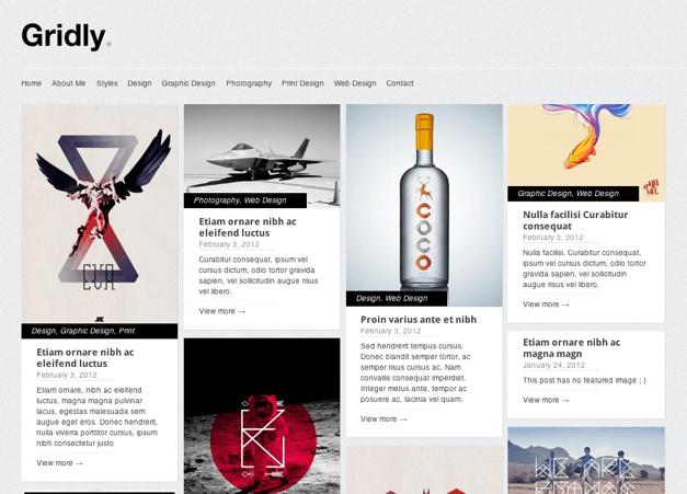 ポートフォリオ-ブログ用の無料WordPressテーマ「Gridly」のトップページイメージ