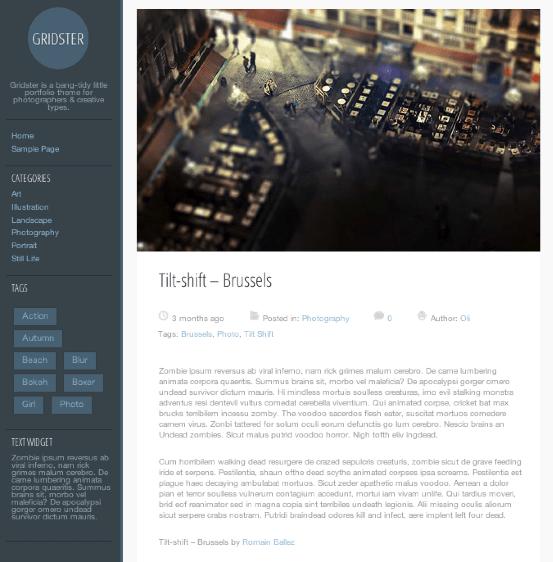 写真ブログ用の無料WordPressテーマ「gridster-lite」の投稿ページデザイン