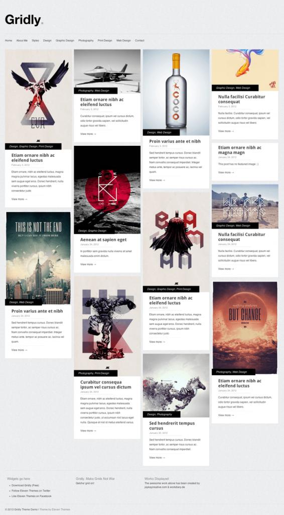 ポートフォリオ-ブログ用の無料WordPressテーマ「Gridly」のレスポンシブデザインのイメージ1