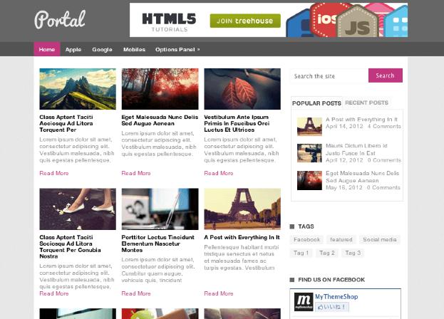 ブログ-ポータル用の無料WordPressテーマ「Portal」のトップページイメージ