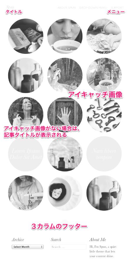 写真ブログ用の無料WordPressテーマ「Spun」のトップページのデザイン