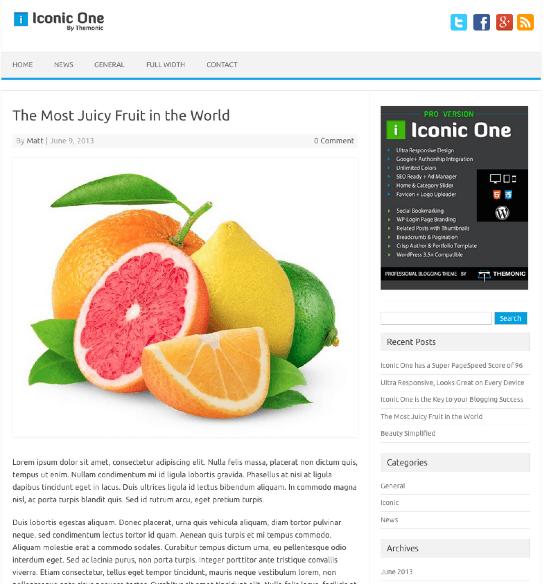 ビジネス-ブログ用の無料WordPressテーマ「Iconic-One」の投稿ページデザイン