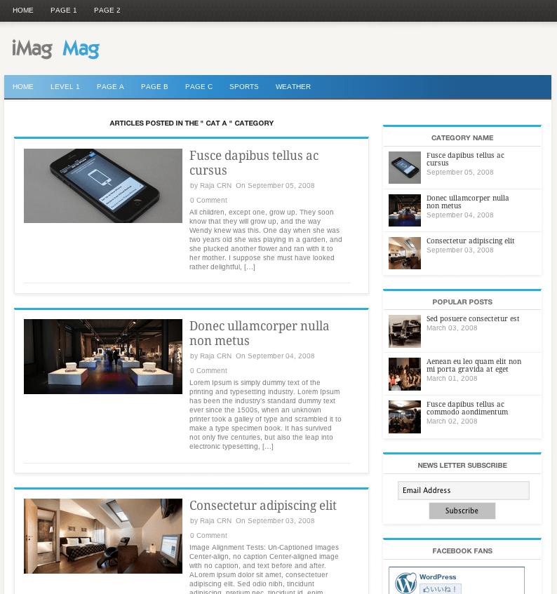 ニュースメディア用の無料WordPressテーマ「iMag-Mag」のカテゴリーページデザイン