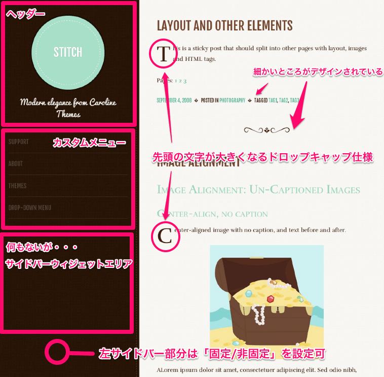 シンプルなタンブラー風ブログ用の無料WordPressテーマ「stitch」のトップページのデザイン1