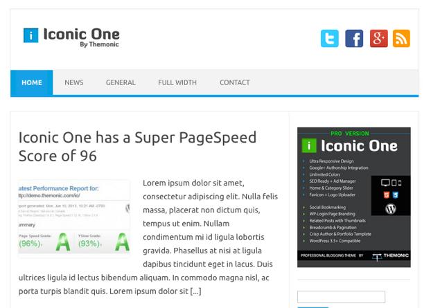ビジネス-ブログ用の無料WordPressテーマ「Iconic-One」のトップページイメージ