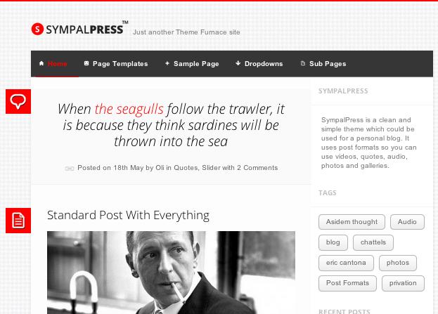 ブログ用の無料WordPressテーマ「sympalpress」のトップページイメージ