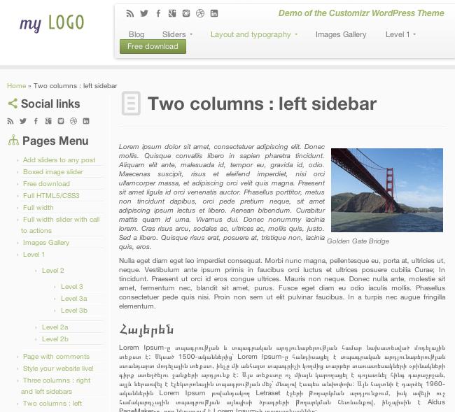 ビジネス-ブログ用の無料WordPressテーマ「Customizr」の固定ページのデザイン1